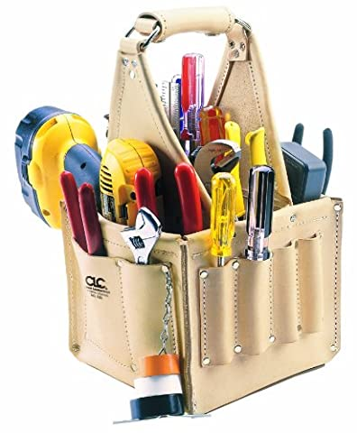 Custom Leathercraft 526 Electrician's and Maintenance Tool Pouch, Top Grain Leather, 17-Pocket by Custom Leathercraft