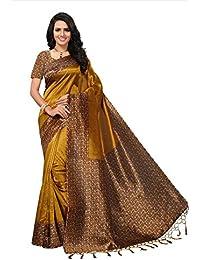 Fabwomen Sarees Kalamkari Yellow And Multi Coloured Mysore Silk With Tessals Fashion Party Wear Women's Saree/...