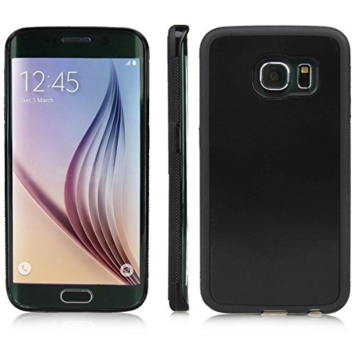 paracity Luxus antigravitation Magische Sticky Cover TPU + PC Fall Haut Shell Haftet auf glatten Oberfläche, Black Suction Cover, Samsung Galaxy S6 Edge 5.1