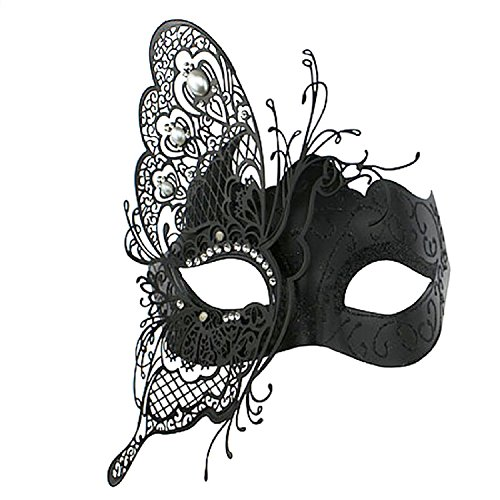 Coxeer Maskerade Maske Mardi Gras Metall Lasercut Kristalle Kugel Prom Princess Venezianische Maske (Maske Gras Schmetterling Mardi)