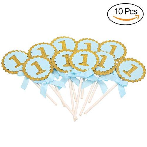 1001ST BIRTHDAY CAKE TOPPER Birthday Party Dekorationen Kids rund rosa blau Cupcake Topper Kuchen dekorieren, Arztausstattung, blau