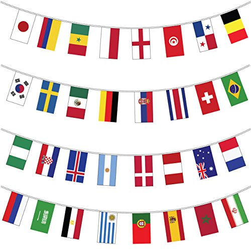 My Planet Banderines gigantes (32 banderines del mundo) de alta calidad con...