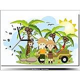 60x40cm - Leinwandbild mit Wanduhr - Moderne Dekoration - Holzrahmen - afrka, Safaris, Mietwagen, junge, Mädchen, Papagei, ara,