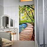 murimage Türtapete Wald Steg 86 x 200 cm Fluß Holzsteg 3D Bäume Badezimmer Fototapete inklusive Kleister