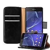 Cadorabo - Funda Estilo Book Lujo para Sony Xperia Z2 con Tarjetero y Función de Suporte - Etui Case Cover Carcasa Caja Protección en NEGRO-GRAFITO