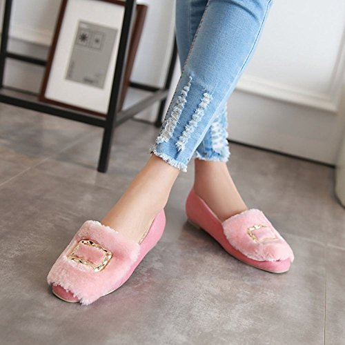 Mee Shoes Damen süß flach warm gefüttert Pumps Pink