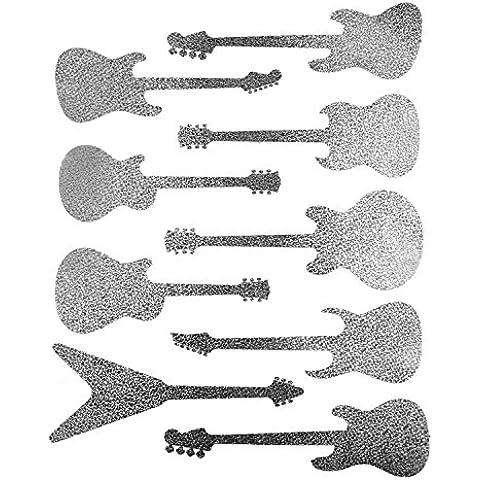 9 Grandi Spumanti Adesivi Argento chitarra Silhouette