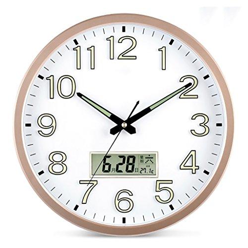 ZML Horloge Murale Lumineuse, Non-coutil, Horloge silencieuse Ronde de Quartz DE 14 Pouces
