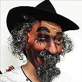 TX ZHAORUI Maske Simulation Lockige Gefälschte Bart Grüne Latex Hut Maske Halloween Maskerade Party Spielen Requisiten