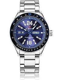 Naviforce reloj Sport Fashion acero inoxidable de la goma de cuarzo reloj de pulsera con fecha/Pantalla día para hombres (azul)