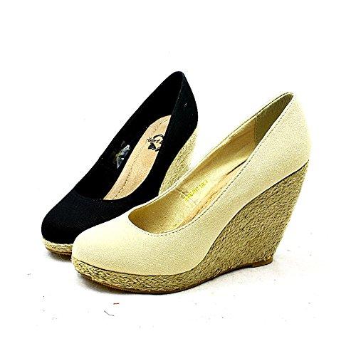 Mesdames Toile bout rond cour talon compensé chaussures