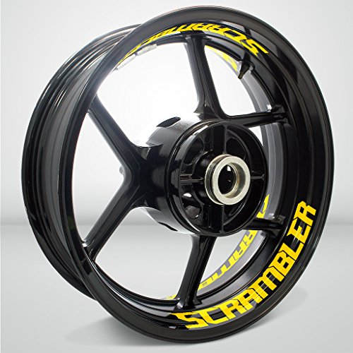 Giallo Lucido Ruote Moto Cerchione Inner Rim Tape Decalcomanie Adesivi per Ducati Scramb
