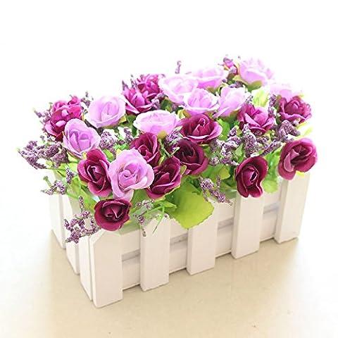 NOHOPE Holzzaun emulation Blume/false Blumen idyllische kleine Topfpflanzen/Emulation Flower Art Holzzaun Plastikblumen indoor und outdoor Home Decor Ornamente