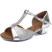 HIPPOSEUS Niñas Zapatos de La Danza de Salón de Baile/Niños Zapatos de Baile/Zapatos Latinos de el Satén Mujeres,ES305