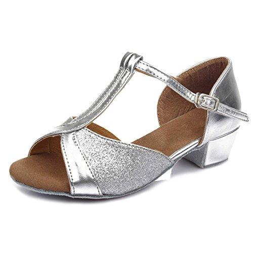 HIPPOSEUS Donna & Bambine Ballroom Scarpe da ballo/sala da ballo scarpe/Scarpe da ballo latino standard,Modello-IT305 Argento