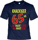 T-Shirt 65 Geburtstag - Geburtstagsshirt Sprüche 65 Jahre : Knackiger 65iger Mal Knackt es Hier Mal Knackt es Da - Geschenk-Shirt Zum 65.Geburtstag Mann/Frau Gr: L