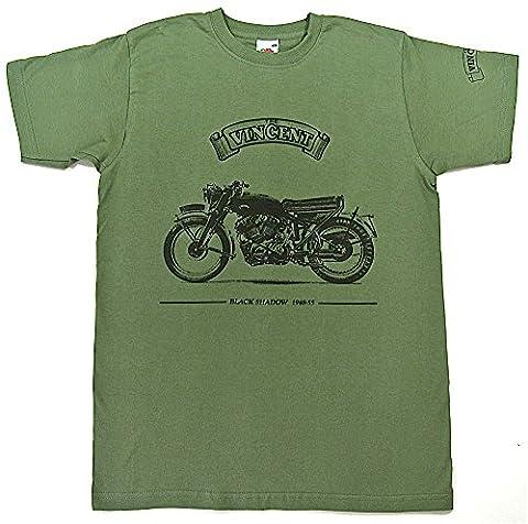 Vincent Black Shadow–T-Shirt–Vert Olive pour Homme en taille XL (44à 116,8cm)–---- Veuillez Voir nos autres listes pour les autres tailles de cette Chemise pour homme