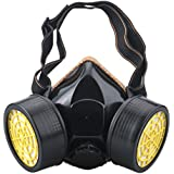 Ewolee Máscara respiratoria de Gas para Pintar, Mascarillas Antipolvo, Respirador para Protección Contra Polvo y Química - Negro