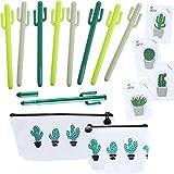 13 Stück Kaktus Schule Bürobedarf Set Kaktus Kugelschreiber Haftnotiz mit Kaktus Canvas Stifttasche Bleistift Tasche Münzen Taschen für Schulbedarf