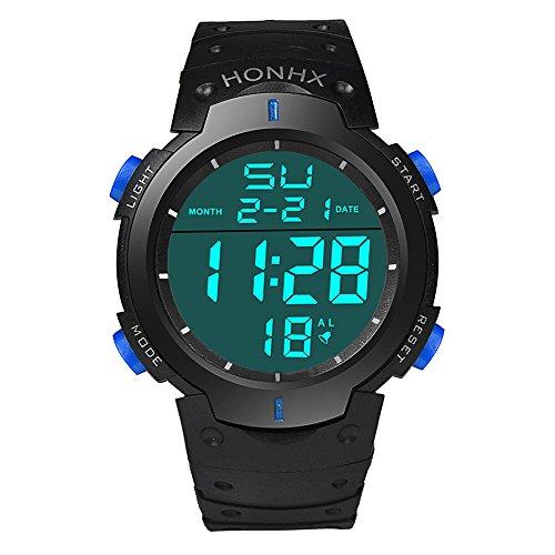 IG-Invictus Mode wasserdichte Männer Junge LCD Digital Stoppuhr Datum Gummi Sport Armbanduhr HONHX Elektronische Uhr 9001-3 Blau