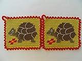 Storchenlädchen 1 Paar Topflappen Schildkröte gehäkelt Handarbeit, Landschildkröte Tier
