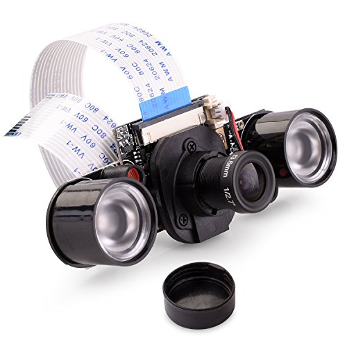 Quimat for Raspberry Pi Camera IR-CUT 5MP OV5647 sensor Adjustable-Focus Module IR LED Night Vision Light Webcam Video 1080p Compatible with Raspberry Pi 3 2 1 B B+ A A+
