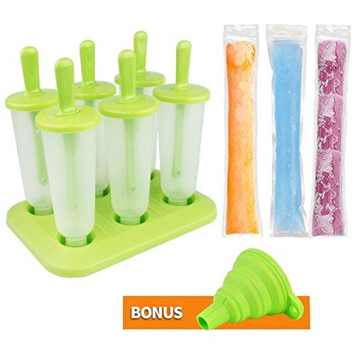 Bioeilife Eisformen Set, 6 Stück Eis am Stiel Bereiter und 40 Eis-Pop-Form,1Trichter (Groß)