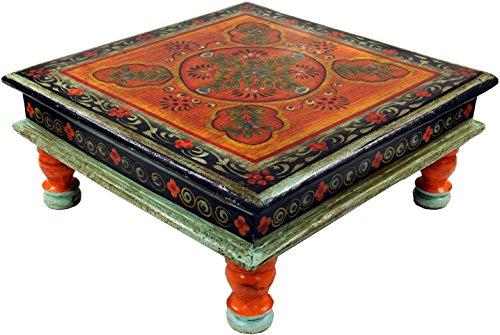 Guru-Shop Bemalter Kleiner Tisch, Minitisch, Blumenbank - Ornament Blau/gelb, 16x38x38 cm, Kaffeetische & Bodentische