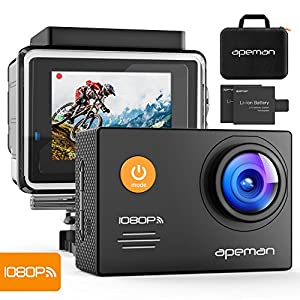 APEMAN Action Camera Underwater Camera Wi-Fi 1080P 14MP Waterproof up to 30m 2.0'' LCD 170°Ultra Wide-Angle Two 1050mAh Batteries with Portable Case and Kit of Accessories from Good Product