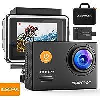 Apeman A70, Action Cam Impermeabile Wifi Sports Cam FHD 14MP Dual Batterie Custodia portatile con accessori, Nero