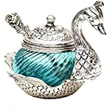 Balaji Arts Handmade Silver And Turqoise Glass Decorative Platter Duck Bowl For Home Décor