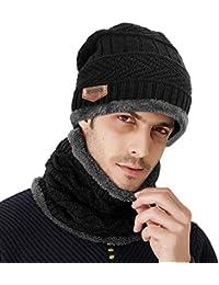 8b2e68487376 Samione Bonnet Tricot, 2 Pièces Chauffant Bonnet Chapeau Tricot avec Écharpe  de Doublure Polaire, Hiver Homme Femme Unisexe Ski…