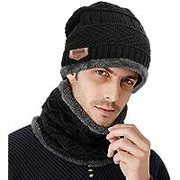 Samione Bonnet Tricot, 2 Pièces Chauffant Bonnet Chapeau Tricot avec Écharpe de Doublure Polaire, Hiver Homme Femme Unisexe Ski Chapeau Beanie pour Les Activités de Plein Air - Noir