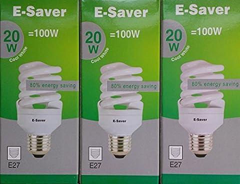 Pack of 3, E-Saver CFL Full Spiral, 20w = 100watt, Cool White 4200k, Compact Fluorescent Lamp, Screw in Cap, Screw Edison (ES) E27, 1150 Lumen, T2, 80%-85% Energy Saving Light Bulb, Flicker Free, 10,000 Hours Life