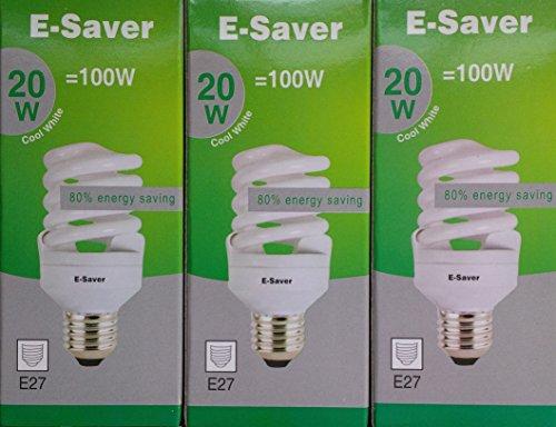 e-saver CFL Glühbirne, Glas, E27, 100W, 3Stück - Cfl 100w Spirale Glühbirne