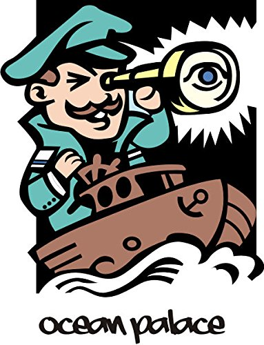 T-Shirt E1219 Schönes T-Shirt mit farbigem Brustaufdruck - Logo / Grafik / Design - Kapitän mit Fernglas und Fischkutter - mehrfarbig Farbe Schwarz