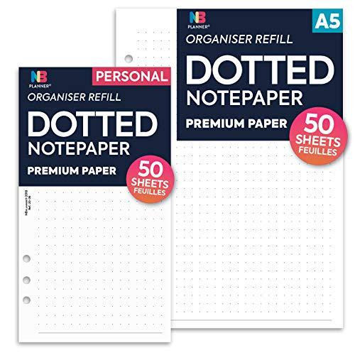 Nbplanner Dotted Notepaper organiser refill planner inserto Personal: 95 x 171 mm