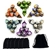 SmartDealsPro 6 x 7 Sets(42 Pieces) NEW ARRIVAL TWO COLORS Polyhedral Dice with Free Pouches for Dungeons and Dragons DND RPG MTG Table Games D4 D8 D10 D12 D20 (6-Colors Set 2)