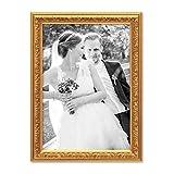 PHOTOLINI Bilderrahmen Antik Gold Nostalgie 21x30 cm Din A4 Fotorahmen mit Glasscheibe/Kunststoff-Rahmen