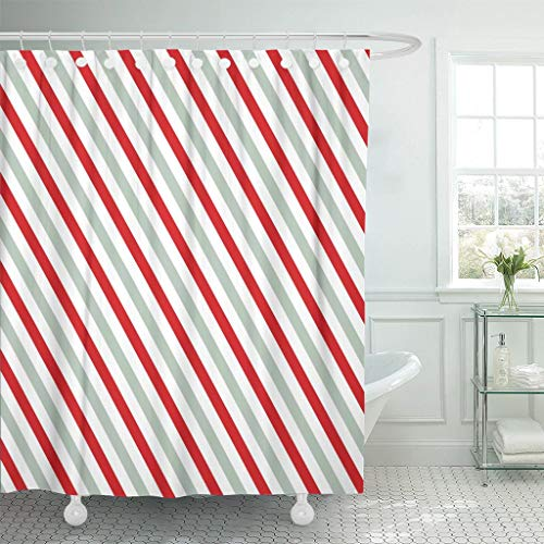 LongTrade Bad Duschvorhang Shower Curtain Pink Gray Stripes on White Striped Diagonal Pattern Christmas Winter Geometric with Slanted Lines Waterproof Polyester Fabric Set with Hooks 72