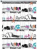 Duschvorhang London Rock´n Roll weiss schwarz pink 180cm x 200cm Vinyl ohne Ringe