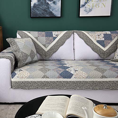 YEARLY Antideslizante Algodón Funda para sofá, Funda de sofá Acolchado Four Seasons Simple Moderno Protector de Muebles Espesar Cubrecanapé-Gris 90x240cm(35x94inch)