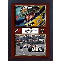 S&E DESING Ayrton Senna Weltmeister signiertes Memorabilia Formel 1, gerahmt