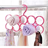 #6: House of Quirk Single Piece 10-Circle Plastic Ring Hanger for Scarf, Shawl, Tie, Belt, Closet Accessory Wardrobe Organizer (Pink)