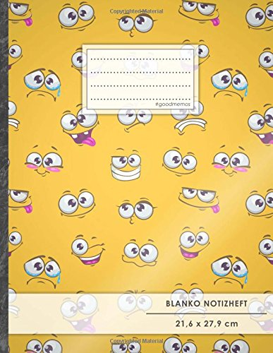 "Blanko Notizbuch • A4-Format, 100+ Seiten, Soft Cover, Register, ""Emoji Bilder"" • Original..."