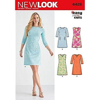 New Look Damen Schnittmuster 6428 nur für Knits Kleider: Amazon.de ...