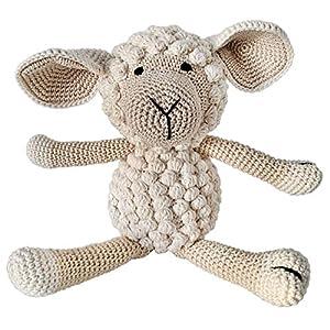 LOOP BABY - Gehäkeltes Schaf - super weiches Kuscheltier für Mädchen und Jungen - Stoffpuppe aus Bio-Baumwolle - perfekt als Oster-Geschenk für Babys und Kinder