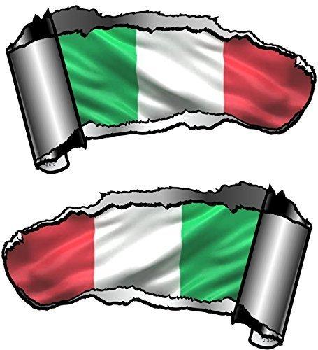 Von Hand Bemalt, Bad (Autoaufkleber, klein, von Hand bemalt, Riss, Metall-Effekt, Italienische Flagge Tricolore, 93x 50mm, 2Stück)
