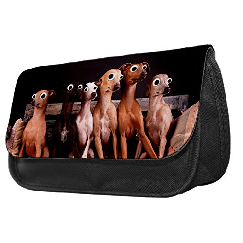 Italian Greyhound Cane Googley Occhi Animali Astuccio/Make Up Bag (Greyhound Dog Stampa)