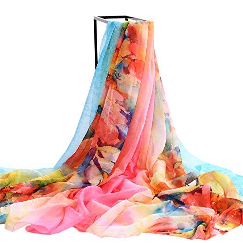 Upper Cape de foulards femmes Wild Super Sun Beach printemps/été écharpe mousseline de soie foulards écharpe Orange